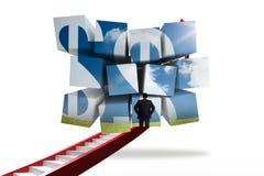 Σύνθετη εικόνα των σημαδιών επιχειρηματιών και δολαρίων στην αφηρημένη οθόνη Στοκ φωτογραφία με δικαίωμα ελεύθερης χρήσης