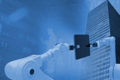 Σύνθετη εικόνα των τεχνολογιών στο άσπρο κλίμα τρισδιάστατο Στοκ Φωτογραφίες