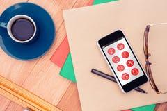 Σύνθετη εικόνα των τηλεφωνικών apps εικονιδίων Στοκ εικόνες με δικαίωμα ελεύθερης χρήσης