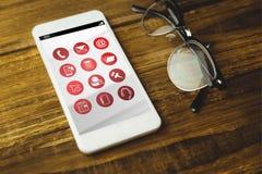Σύνθετη εικόνα των τηλεφωνικών apps εικονιδίων Στοκ φωτογραφία με δικαίωμα ελεύθερης χρήσης