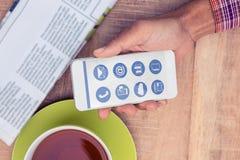 Σύνθετη εικόνα των τηλεφωνικών apps εικονιδίων Στοκ Φωτογραφίες