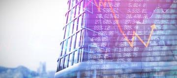 Σύνθετη εικόνα των ψηφιακά παραγμένων τρισδιάστατων κτιρίων γραφείωνεικόνας ofελεύθερη απεικόνιση δικαιώματος