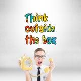 Σύνθετη εικόνα geeky να φωνάξει επιχειρηματιών στο αναδρομικό τηλέφωνο Στοκ Εικόνες