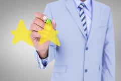 Σύνθετη εικόνα midsection του γραψίματος επιχειρηματιών με το δείκτη Στοκ Εικόνα