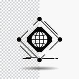 Σύνθετος, σφαιρικός, Διαδίκτυο, καθαρός, εικονίδιο Glyph Ιστού στο διαφανές υπόβαθρο r απεικόνιση αποθεμάτων
