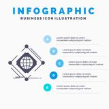 Σύνθετος, σφαιρικός, Διαδίκτυο, καθαρό, πρότυπο Infographics Ιστού για τον ιστοχώρο και παρουσίαση Γκρίζο εικονίδιο GLyph με μπλε απεικόνιση αποθεμάτων