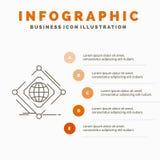 Σύνθετος, σφαιρικός, Διαδίκτυο, καθαρό, πρότυπο Infographics Ιστού για τον ιστοχώρο και παρουσίαση r ελεύθερη απεικόνιση δικαιώματος