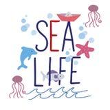 Σύνθημα θάλασσας σχεδίων χεριών ελεύθερη απεικόνιση δικαιώματος
