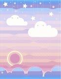 Σύννεφα, θάλασσα, ανατολή, βουνά, αστέρια, ουρανός Στοκ Φωτογραφία