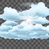 Σύννεφα και ήλιος στο διαφανές υπόβαθρο επίδρασης Στοκ εικόνα με δικαίωμα ελεύθερης χρήσης