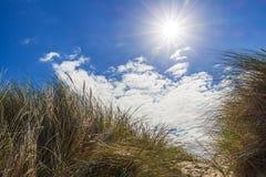 Σύννεφα και Βόρεια Θάλασσα αμμόλοφων σε de-Panne, Βέλγιο Στοκ εικόνα με δικαίωμα ελεύθερης χρήσης