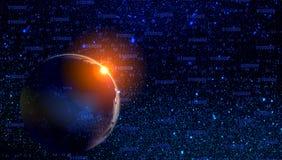 Σύννεφα και πλανήτες αστεριών νεφελώματος γαλαξιών κόσμου υπόβαθρο έννοιας τεχνολογίας απεικόνιση αποθεμάτων