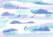 Σύννεφα και πουλιά διανυσματική απεικόνιση