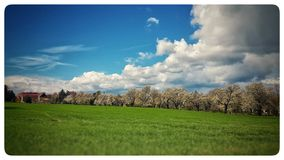 Σύννεφα και πράσινος Στοκ Εικόνες