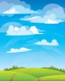 Σύννεφα ομάδας στο μπλε ουρανό Διανυσματική απεικόνιση