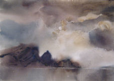 Σύννεφα, ομίχλη πέρα από τη λίμνη, watercolor Στοκ Φωτογραφία