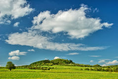 Σύννεφα πέρα από το λιβάδι με τις ανθίζοντας πικραλίδες με το βουνό Στοκ φωτογραφίες με δικαίωμα ελεύθερης χρήσης