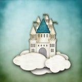Σύννεφα χαρτονιού στο ριγωτό υπόβαθρο ελεύθερη απεικόνιση δικαιώματος
