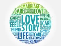 Σύννεφο λέξης κύκλων του Love Story Στοκ φωτογραφία με δικαίωμα ελεύθερης χρήσης