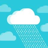 Σύννεφο και βροχή που αποτελούνται από τους αριθμούς Στοκ εικόνα με δικαίωμα ελεύθερης χρήσης