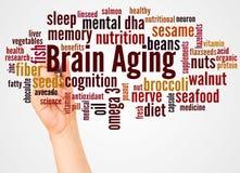 Σύννεφο και χέρι λέξης γήρανσης εγκεφάλου με την έννοια δεικτών απεικόνιση αποθεμάτων
