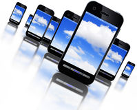 Σύννεφο και smartphones Στοκ Εικόνα