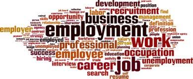 Σύννεφο λέξης απασχόλησης διανυσματική απεικόνιση