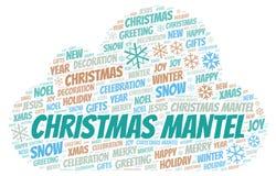 Σύννεφο λέξης κορνιζών τζακιού Χριστουγέννων απεικόνιση αποθεμάτων