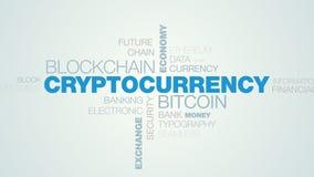 Σύννεφο λέξης τεχνολογίας καινοτομίας Cryptocurrency bitcoin blockchain apear στο άσπρο μπλε υπόβαθρο κλίσης, επίσης απεικόνιση αποθεμάτων
