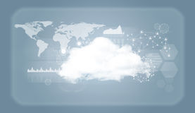 Σύννεφο με τον παγκόσμιους χάρτη, το δίκτυο και τις γραφικές παραστάσεις Στοκ φωτογραφία με δικαίωμα ελεύθερης χρήσης