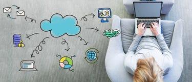 Σύννεφο που υπολογίζει με το άτομο που χρησιμοποιεί ένα lap-top Στοκ εικόνες με δικαίωμα ελεύθερης χρήσης