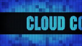 Σύννεφο που υπολογίζει το μπροστινό κείμενο που τυλίγει τον πίνακα σημαδιών οθόνης τοίχων των οδηγήσεων απόθεμα βίντεο