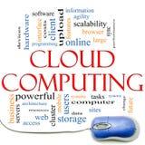 Σύννεφο που υπολογίζει το σύννεφο και το ποντίκι του Word απεικόνιση αποθεμάτων