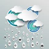 Σύννεφο που υπολογίζει με το εικονίδιο στις πτώσεις βροχής Στοκ Φωτογραφίες
