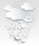 Σύννεφο που υπολογίζει με το εικονίδιο στις πτώσεις βροχής Στοκ Εικόνα