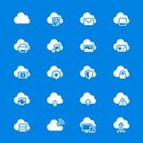 Σύννεφο που υπολογίζει τα επίπεδα εικονίδια Στοκ Εικόνες