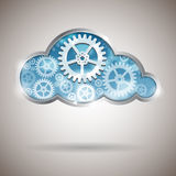 Σύννεφο που υπολογίζει την αφηρημένη απεικόνιση με τις ρόδες εργαλείων Στοκ φωτογραφία με δικαίωμα ελεύθερης χρήσης
