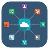Σύννεφο που υπολογίζει τη διανυσματική απεικόνιση με τα εικονίδια καθορισμένα Στοκ εικόνες με δικαίωμα ελεύθερης χρήσης