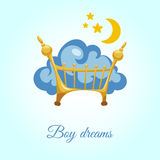 Σύννεφο στο κρεβάτι για ένα αγόρι διανυσματική απεικόνιση