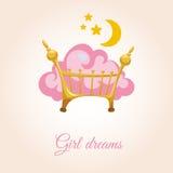Σύννεφο στο κρεβάτι για τα κορίτσια διανυσματική απεικόνιση