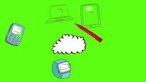 Σύννεφο σχεδίων χεριών με τις συσκευές μέσων στην πράσινη οθόνη απόθεμα βίντεο