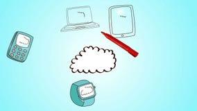 Σύννεφο σχεδίων χεριών με τις συσκευές μέσων απόθεμα βίντεο