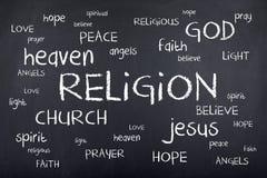 Σύννεφο του Word θρησκείας στον πίνακα κιμωλίας Στοκ Εικόνες