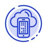 Σύννεφο, υπολογίζοντας, κινητός, μπλε εικονίδιο γραμμών διαστιγμένων γραμμών κυττάρων ελεύθερη απεικόνιση δικαιώματος