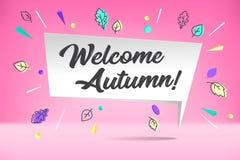 Σύννεφο φυσαλίδων της Λευκής Βίβλου με το ευπρόσδεκτο φθινόπωρο κειμένων Διάθεση φθινοπώρου, χαρά, περιμένοντας πτώση φύλλων Αφίσ Στοκ Εικόνες