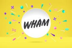Σύννεφο φυσαλίδων της Λευκής Βίβλου με το κείμενο Wham για τη συγκίνηση, κίνητρο, θετικό σχέδιο Αφίσα με τη συζήτηση σύννεφων, μή στοκ φωτογραφία με δικαίωμα ελεύθερης χρήσης