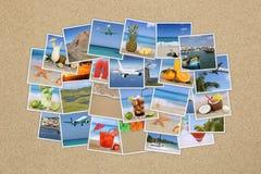 Σύννεφο φωτογραφιών με τις θερινές διακοπές, παραλία, διακοπές, που ταξιδεύει στο s Στοκ Εικόνες