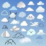 Σύννεφων εικονιδίων η διαφορετική μορφή ουρανού φύσης σχεδίου ύφους νεφελώδης cloudscape βράζει λεκτική διανυσματική απεικόνιση Στοκ Φωτογραφίες