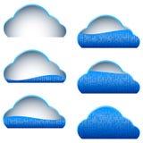 Σύννεφων υπολογισμού αποθήκευσης μπλε μερίδα μερών εικονιδίων γεμισμένη δυαδικό απεικόνιση αποθεμάτων