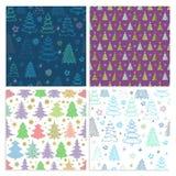 Σύνολο άνευ ραφής διανυσματικού σχεδίου Χριστουγέννων με ζωηρόχρωμα fir-trees Στοκ φωτογραφία με δικαίωμα ελεύθερης χρήσης